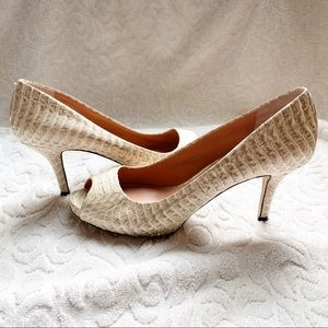 Vince Camuto Snakeskin Open Toe Tan Color Heels